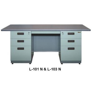 Lion – Meja Kantor Besi Berikut Laci type L-101 N & L-103 N