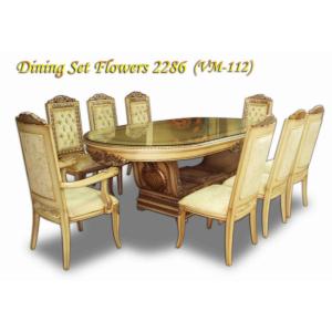 Gardena Meja & 8 Kursi Makan type Flowers 2286